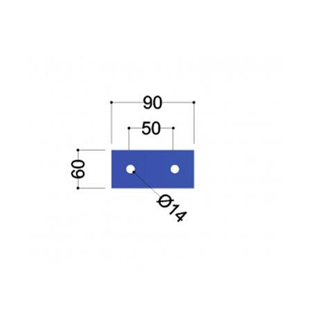 UNP100 kopplaat (90x60x10mm, 2x gat 14mm)