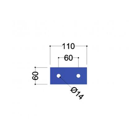 UNP120 Kopplaat (110x60x10mm, 2x gat 14mm)