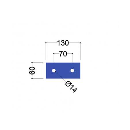 UNP140 kopplaat (130x60x10mm 2x gat 14mm)