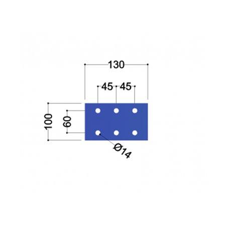 IPE140 kopplaat (130x100x10mm, 6x gat 14mm)