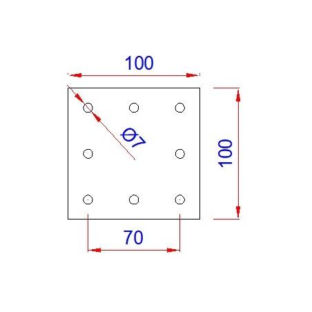 Vierkant aanlasplaat 100 x 100 x 4mm, 8x gat 7mm
