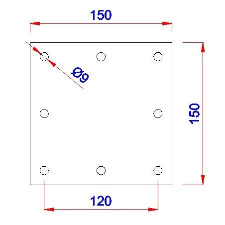 Vierkant aanlasplaat 150 x 150 x 6mm, 8x gat 9mm