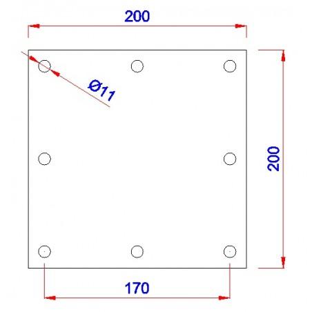 Vierkant aanlasplaat 200 x 200 x 8mm, 8x gat 11mm