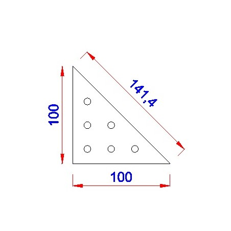 Driehoek aanlasplaat 100 x 100 x 4mm, 6x gat 7mm
