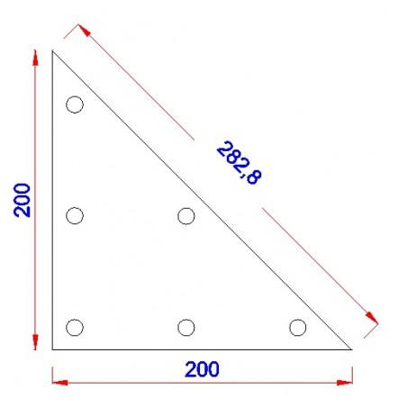 Driehoek aanlasplaat 200 x 200 x 8mm, 3x gat 11mm