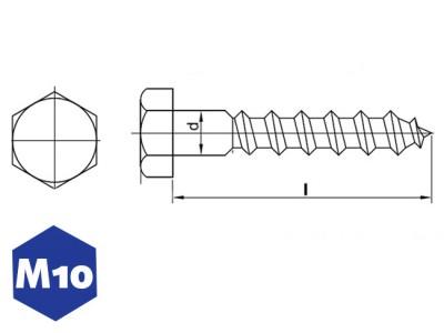 verzinkte houtdraadbout m12